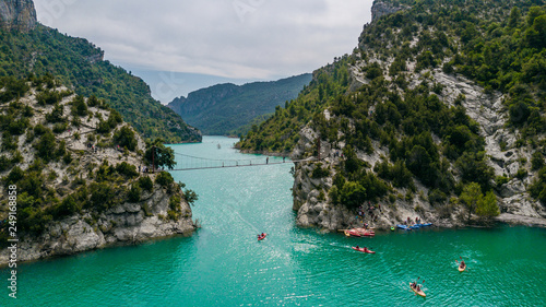 Aerial view of the Congost de Mont-rebei gorge and kayakers in Catalonia, Spain
