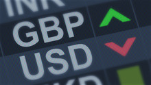 British Pound Rising, American Dollar Falling, Exchange Rate Fluctuation, Screen