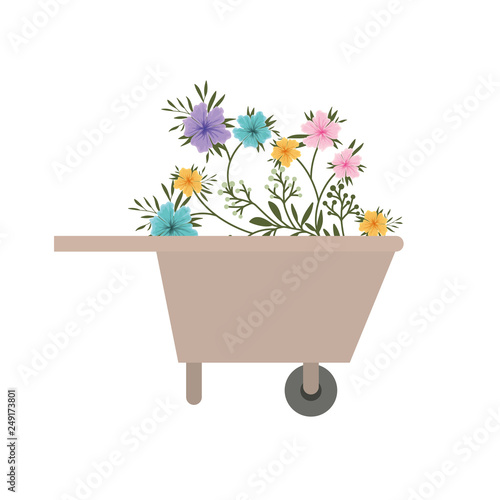 Photo wheelbarrow of wooden with flowers icon