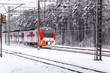 Red electric train moves through winter forest