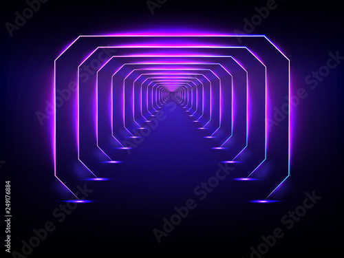 Fotografía  Endless futuristic tunnel glowing neon illumination vector