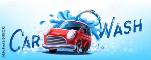 Spoed Foto op Canvas Cartoon cars car wash illustration