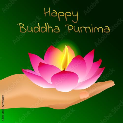 Buddha Purnima Day The Buddhas Birthday Happy Holiday Lotus