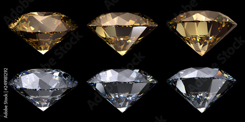 Valokuva  Gloden yellow, clear round cut diamonds, side view, various camera angles, isolated on black background