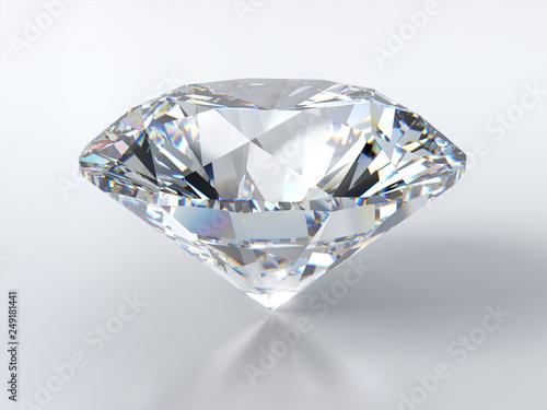 Fotografía  Clear round cut diamond on white background