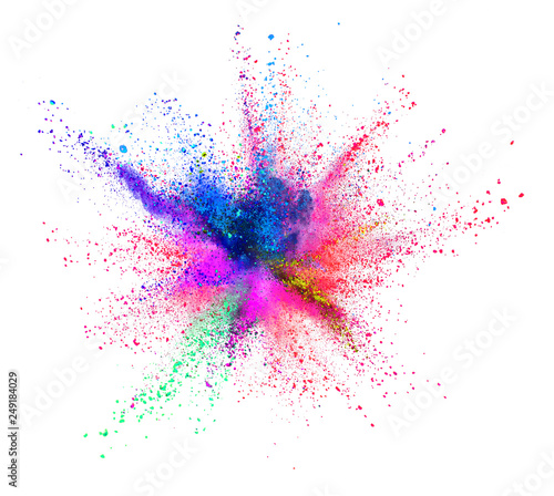 Multi colored powder explosion isolated on white Fototapete