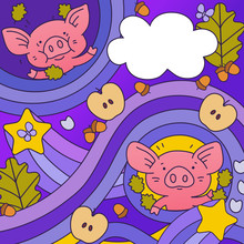 Background With Pigs, Acorns, ...