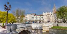 Panorama Of The Santa Maria Bridge In Burgos, Spain