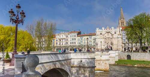 Panorama of the Santa Maria bridge in Burgos, Spain