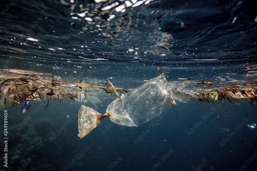 Fototapeta Plastic bag floating in ocean
