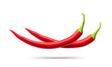 Realistic Red Chilli Peppers. Vector Illustration Isolated On White Background. Ready For Your Design. EPS10.
