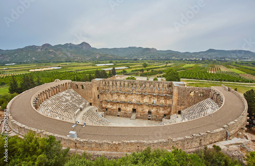 Canvas Print Ancient amphitheater Aspendos in Antalya, Turkey