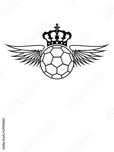 Wappen Krone Flugel Handball Sport Rund Kreis Verein Spass