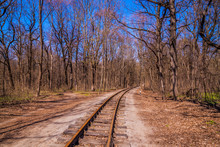 Railroad Single Track Through The Woods In Early Spring. Bright Fresh Spring Landscape, No Leaves Yet, Blue Sky