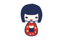 Traditional Japanese Kokeshi Doll Isolated Vector Illustration. Kawaii Kokeshi Doll Girl Souvenir With Cute Kimono On.