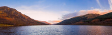 Scottish Beautiful Colorful Sunset Landscape With Loch Voil, Mountains And Forest At Loch Lomond & The Trossachs National Park