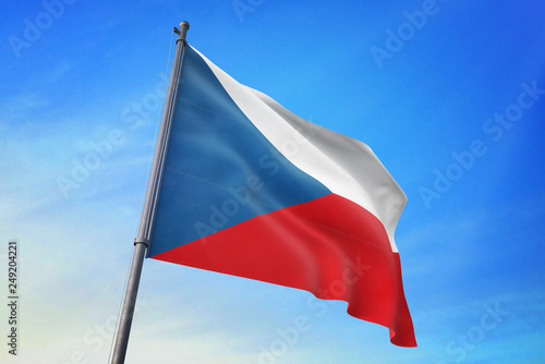 Fotografie, Obraz  Czech Republic flag waving on the blue sky 3D illustration