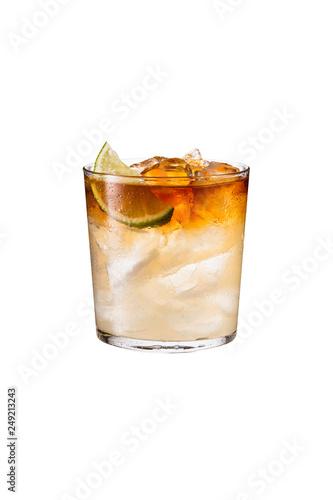 Fototapeta Refreshing Dark and Stormy Cocktail on White obraz