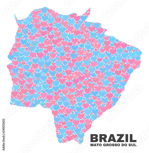 Fotografija  Mosaic Mato Grosso do Sul State map of lovely hearts in pink and blue colors isolated on a white background
