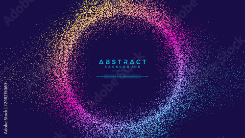 Obraz Dynamic abstract liquid flow particles background. Abstract particles circle background. Eps10 Vector background. - fototapety do salonu