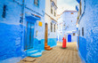 canvas print picture - Blue street of medina in Chefchaouen, Morocco