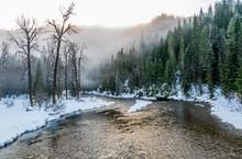 River In Winter Fog