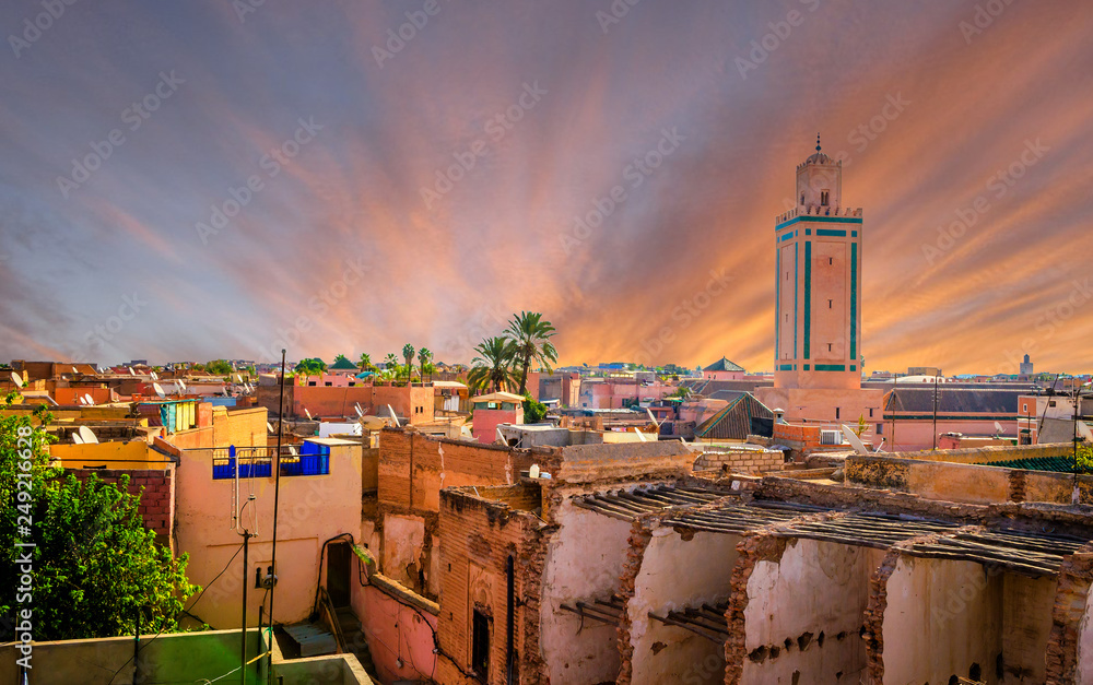 Panoramic view of Marrakesh and old medina, Morocco