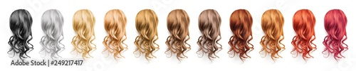 Fotografía  Collection various colors of wavy hair on white background