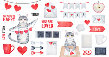 Big True Love Set With Smiling Kitty Character, Different Postal Symbols, Cupid Arrows, Holiday Bunting, Romantic Quotes. Hand Drawn Water Color Painting On White Background, Cutout Clipart Elements.