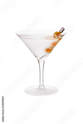 Fotografía  Refreshing Vodka Martini Cocktail with Olives on White