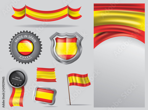 Made In Spain Seal Spanish Flag And Color Vector Art Kaufen