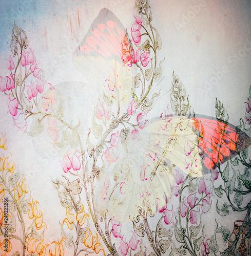 tło grunge motyl i kwiaty