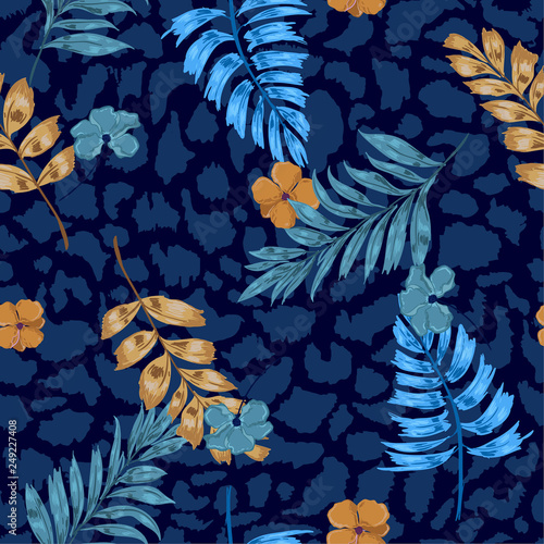 Tuinposter Vlinders Dark summer Tropical summer floral safari leaves on exotic animal skin leopard prints ,hand drawn style background. Seamless vector pattern