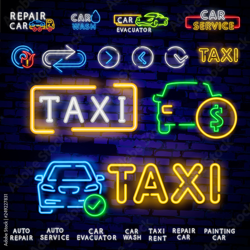 Set Logos In Neon Style Transportation Design Template Neon Signs