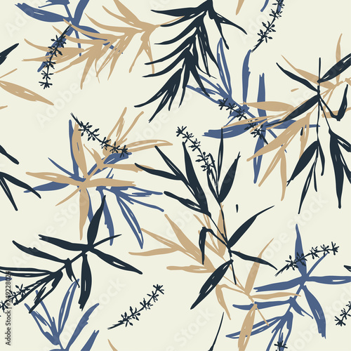 Beautiful Seamless pattern vector of brush blue and beige bamboo leaves  and flower oriental style design for fashion ,fabric, wallpaper