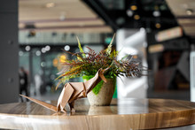 Brown Kangaroo Paper Folding Origami, Decorates In Restaurant, Coffee Shop