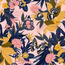 Beautiful Vector Seamless Beautiful Artistic Sweet Tropical Pattern With Exotic Forest. Original Stylish Floral Background Print,design For Fashion,fabric And All Prints ,