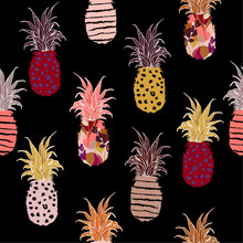 Colorful  Hand Drawn Pineapple Fill-on With Hand Sketch Line Pattern Seamless ,vector Design For Fashion,fabric,wallpaper