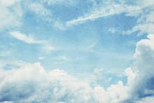 Blue Sky On Old Paper Vintage Effect For Background.