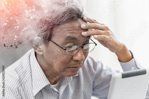Asian elder lost memory from dementia or alzheimer disease concept Canvas