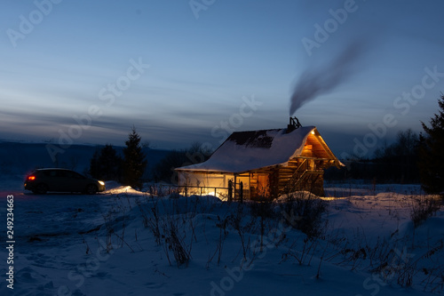 Poster Crimson Russian sauna