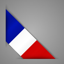 Flag Of The French Republic. Realistic Flag Of France. Paper Cutting Style.Corner Ribbon. Isolated Vector Illustration.