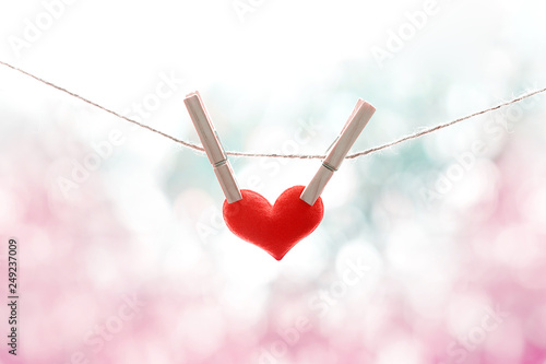 red heart hanging on a rope