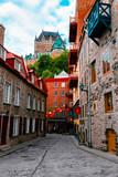 Fototapeta Uliczki - Quartier Petit Champlain and Frontenac Castle in Old Quebec City, Quebec, Canada