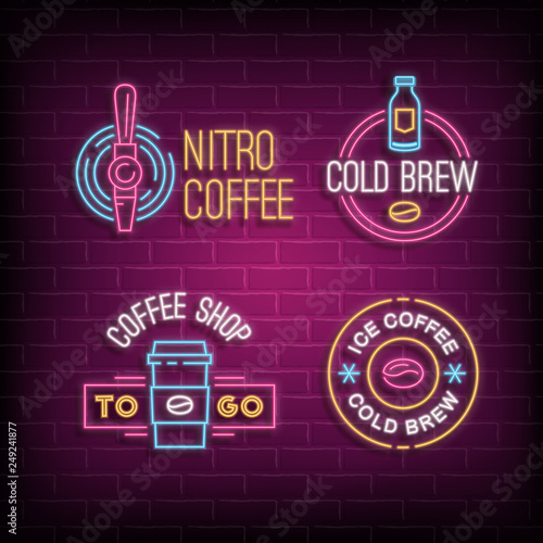 Cuadros en Lienzo Cold brew coffee and nitro coffee neon logos