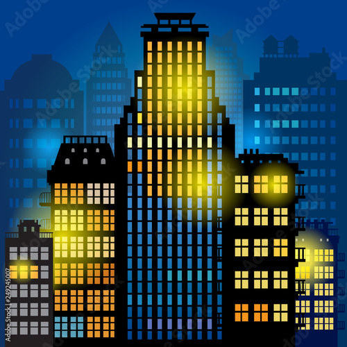 Foto  City megapolis skyline at night
