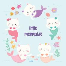 Set Of Cute Cat Mermaids Vector.