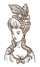 Medieval Woman In Dress With Feathers In Head And Big Hairstyle Sketch