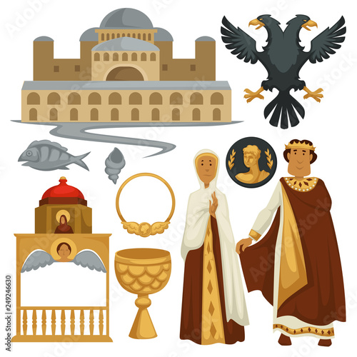 Canvas-taulu Byzantium history symbols heraldry architecture and religion emperor