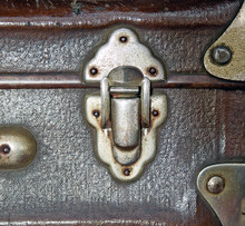 Iron Latch Of Old Suitcase. Close Up Image